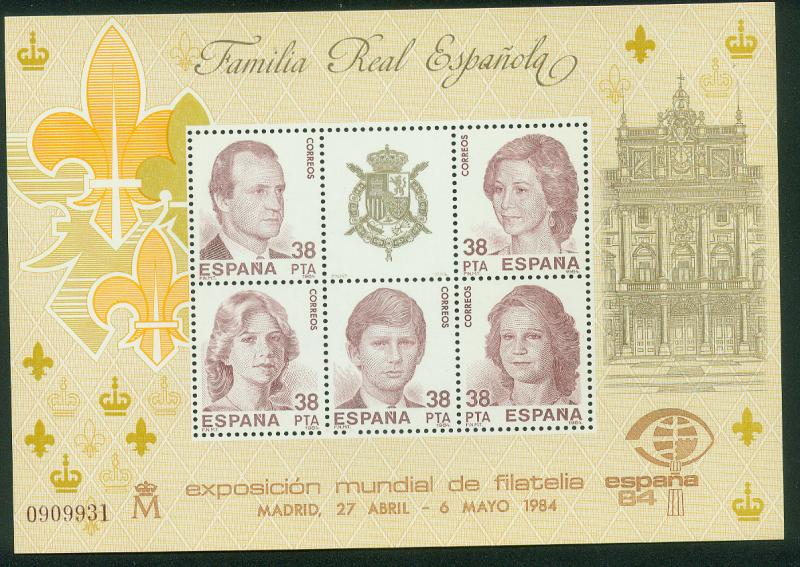 SPAIN 2367, ROYAL FAMILY ESPANA'84 1984, SOUVENIR SHEET MINT, NH.  VF.