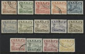 Nauru 1937-48 complete set to 10/ on glazed white paper used