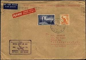 AUSTRALIA 1951 first flight cover Melbourne to Christchurch NZ.............21658