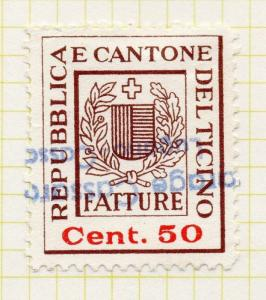 Switzerland Early 1900s Ticino Canton Document Stamp Fine Used 50c. 142872