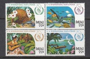PALAU SC# 109-112 UN INTL. YEAR OF PEACE  - MNH