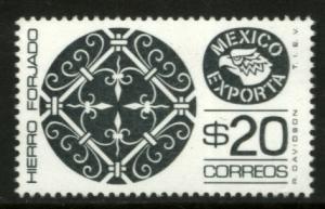 MEXICO Exporta 1465 $20P Wroght Iron P 11 1/2 X 11 Fluor Paper 8 MNH