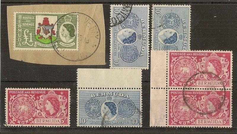 Bermuda 1953 5/-, 10/- & £1 Used Cat£52 (7v)