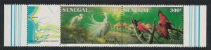 Senegal Birds Egrets Bee eaters Basse Casamance National Park strip of 2v