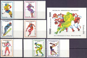 Madagascar. 1991. 1338-44, bl174. Winter sports. MNH.