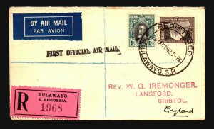 Southern Rhodesia 1932 Registered FFC to England - Z17988