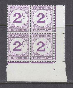 BECHUANALAND, POSTAGE DUE, 1961 Decimal Currency, 2c. Violet, block of 4, mnh.