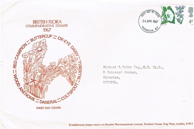 GREAT BRITAIN 1967 -  BRITISH FLORA, LARGE HOECHST PHARMACEUTICALS FDC