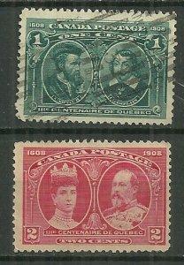 1908 Canada #97 & 98  used.