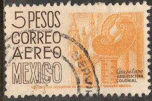 MEXICO C215 $5Pesos 1950 Definitive 2nd Printing wmk 300 HORIZ. USED F-VF (995)