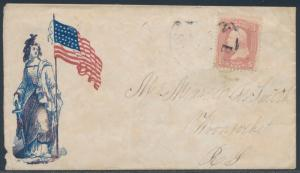 #65 ON PATRIOTIC COVER VF LIBERTY & US FLAG TO RHODE ISLAND BS2281