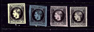 Romania 29-32 MH and No Gum 1866-67 set few paper remnants