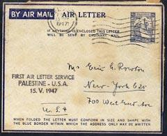 Palestine 1947 First Air letter service to USA