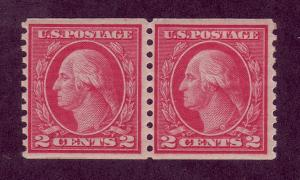455 MNH, 2c. Washington,  Type III Coil Pair,  scv: $45
