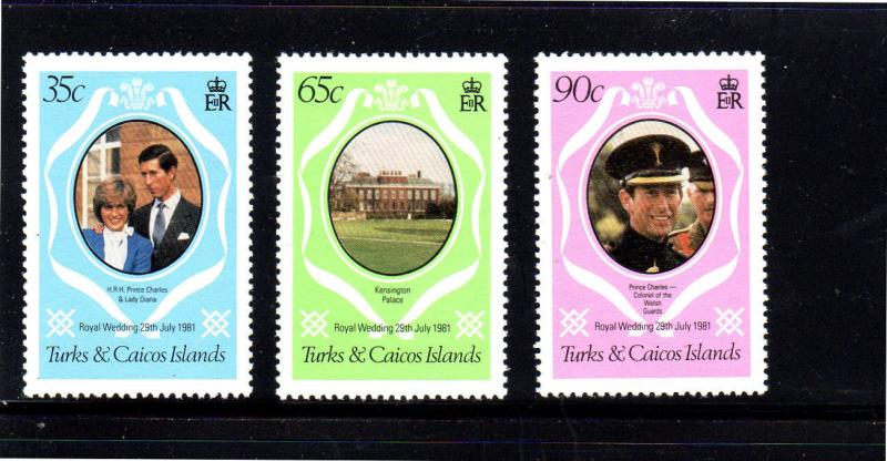 TURKS & CAICOS ISLANDS #486-488  1981  ROYAL  WEDDING  MINT  VF NH  O.G
