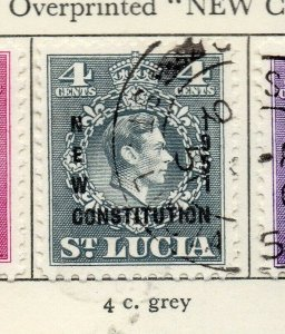 St Lucia 1951 GVI Early Issue Fine Used 4c. Optd NW-154993