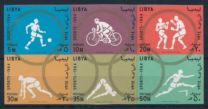 [63066] Libya 1964 Olympic Games Tokyo - Football, Cycling, Boxing Imperf.  MNH