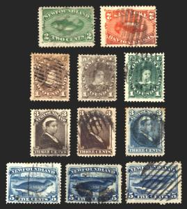 Newfoundland #41-55 1880-96 VF Used Set 11 items