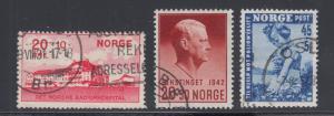 Norway Sc B4, B27, B49 used 1931-1950 issues, 2 cplt sets + 1 single, F-VF