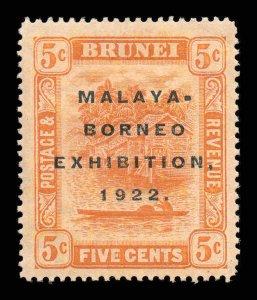 Brunei 1922 MALAYA BORNEO EX. 5c orange SG 55 mint