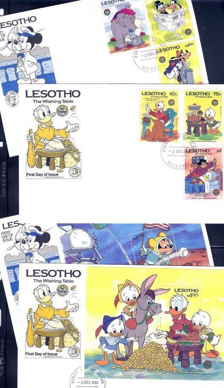 Lesotho, 502-11, Disney Set (4) FDC's,**Used**