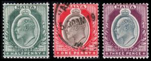 Malta Scott 21-22, 25 (1903-04) Mint/Used H F-VF, CV $12.50 B