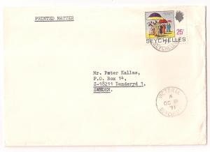 Seychelles 25c definitive #261 solo use printed mat 2 Sweden
