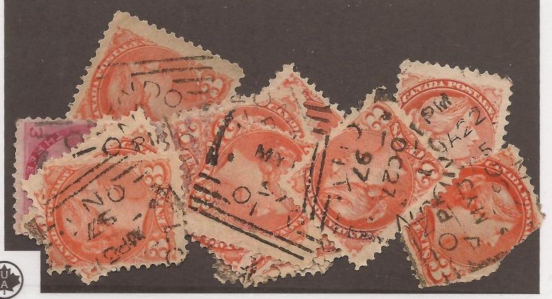CANADA SQUARED CIRCLE CANCEL SET LONDON 15 COPIES F/VF