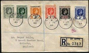 LEEWARDS USED ST KITTS 1949 Registered cover to UK.........................19233