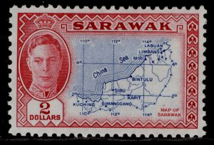 SARAWAK GVI SG184, $2 blue & carmine, M MINT. Cat £45.