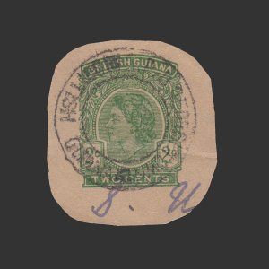 BRITISH GUIANA CUT-OUT FROM COVER. Q.E. II 2 CENT STAMP. RARE.