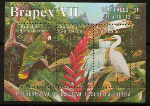 BRAZIL SGMS2340 1988 BRAPEX BIRDS MNH