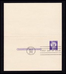 SCOTT #UY17 3¢ + 3¢ LIBERTY POSTAL REPLY CARD FDI FDC 1958