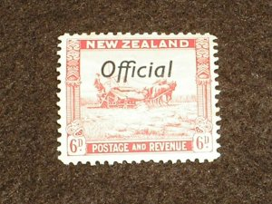 1936 NEW ZEALAND Stamps SGO127 OFFICIAL 6d SCARLET OVERPRINT LIGHTLY HINGED MINT