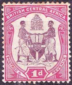 BRITISH CENTRAL AFRICA 1901 KEDVII 1d Dull Purple & Carmine-Rose SG57d MH