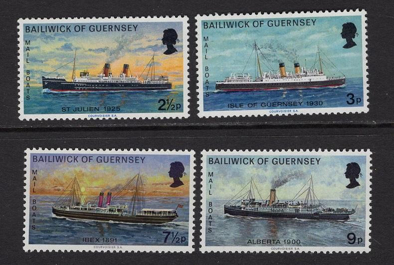 Guernsey   #77-80  1973   MNH   mail boats