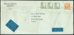 SWEDEN 1953 commercial airmail cover to USA................................60674