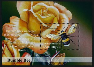 Dominica 2383 MNH Bumble Bee, Flowers, Rose