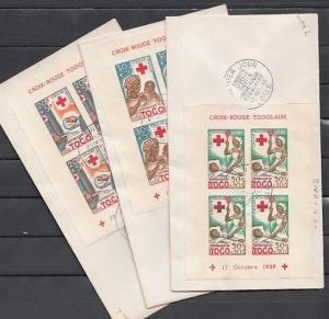 Togo, Scott cat. B12a-B14a. Red Cross sheets of 4. 3 First day covers. Nurse. ^