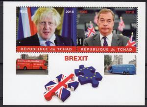 Chad 2018 BREXIT Nigel Farage Boris Johnson Politicians Buses Souvenir Sheet MNH