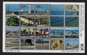 Israel   #851  cancelled  1983   sheet  sea shore Tel Aviv . stamp show