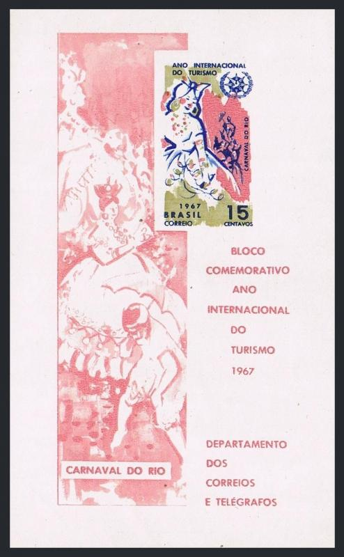 Brazil 1070a sheet,MNH.Michel Bl.22. Tourist Year.ITY-1967.Carnival of Rio