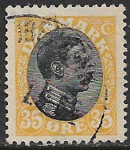 DENMARK 1913-28 35o Yellow and Black King Christian X Portrait Issue Sc 115 VFU