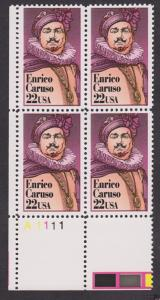 2250 Enrico Caruso MNH Plate block - LL