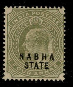 INDIAN STATES - Nabha SG42, 4a olive, M MINT.