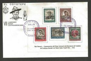 1965 Nicaragua Boy Scout Camporee overprint BP SS FDC