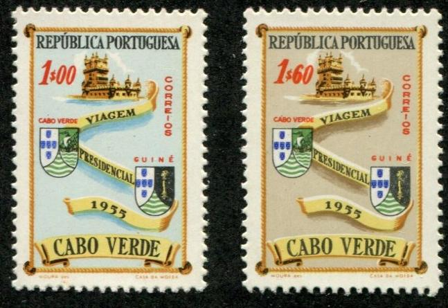 Cape Verde SC# 298-9 Belem Tower & Colony Arms 1e & 1.60e MH
