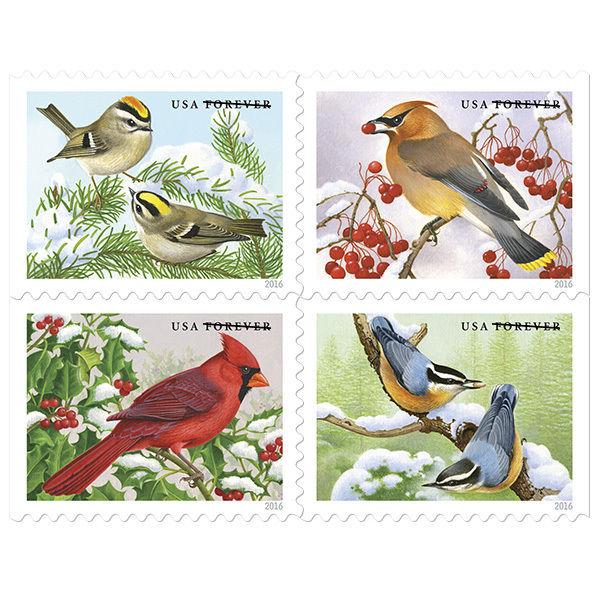 2016 47c Songbirds in Snow, Illustrator Robert Giusti Scott 5126-29 Mint F/VF NH