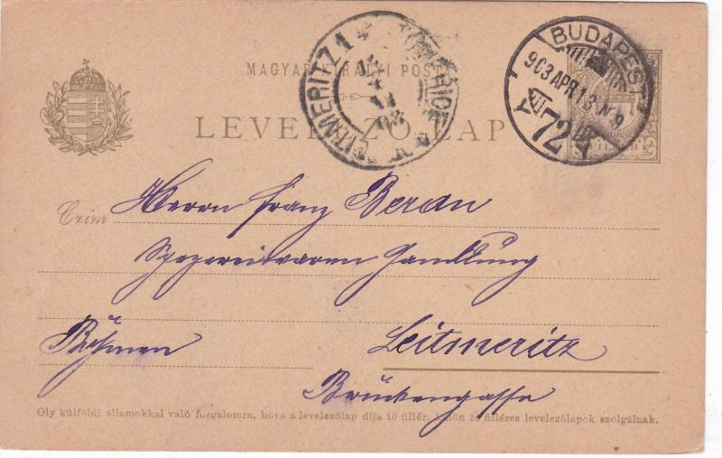 Hungary 1903 Budapest to Litomerice 5 Heller Prepaid Postcard used VGC
