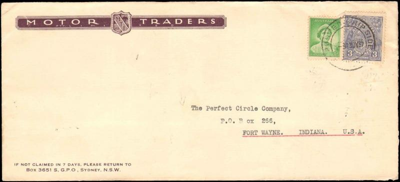 1937 AUSTRALIA POSTED SHIP SIDE CANCEL MULTI STAMP TO UNITED STATES